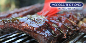Across the Pond Logo and BBQ Ribs
