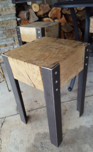 Chunky White Oak Stools Closer Angle
