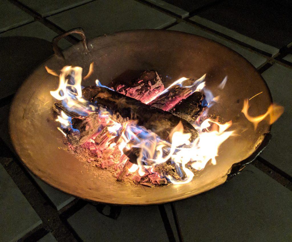 Cast iron fire pit bowls hot