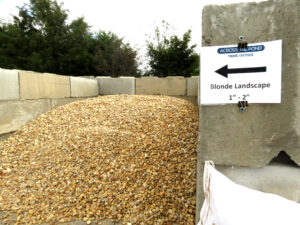 """We now have our Blonde 1 to 2"""" landscape gravel back in stock."""